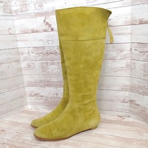 Jimmy Choo chartreuse suede riding boots